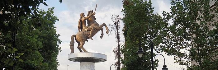 Statue af Alexander den Store i Skopje, Makedonien